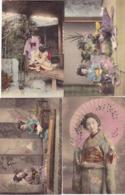 89/ 4 Kaarten Met Dames, Japan, ? - Unclassified