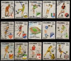 A711A- COLOMBIA - 1982 - MI#: 1562-1576 - USED - COLOMBIAN SOCCER TEAMS - Kolumbien