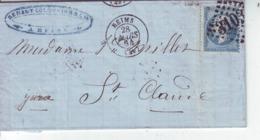 Reims Pour Saint Claude   Yvert  22 GC 3103 Devant Seul 1864 LAC - Marcofilie (Brieven)