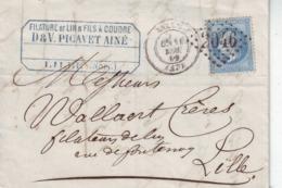 Lille  Pour Lille   Yvert  22 GC 2046 Devant Seul 1869 LAC - Marcofilie (Brieven)