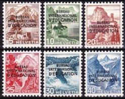 """Schweiz Suisse 1948: Dienst V """"BUREAU INTERNATIONAL D'EDUCATION"""" (BIE) Zu+Mi 23-28 * Falz MLH (Zu CHF 24.00 -50%) - Oficial"""