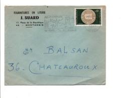 N°1542 SEUL SUR LETTRE DE MONTARGIS 1969 - Poststempel (Briefe)