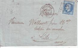 Toulouse Pour Lille  Yvert  29 B GC 3982 1868 LAC Cahet De Ligne - Marcofilie (Brieven)
