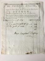 Facture Paris .1788.Au Pavillon Anglais. Palais Royal,Boutonnier. - ... - 1799