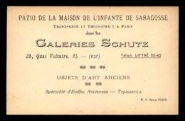 CARTES DE VISITE - GALERIES SCHUTZ, OBJETS D'ARTS ANCIENS, 25 QUAI VOLTAIRE PARIS 7EME - FORMAT 13.5 X 8.5 CM - Cartes De Visite