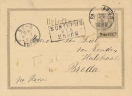Suriname - 1888 - 7,5 Cent Opdruk Op 15 Cent Willem III, Briefkaart G4a Van Paramaribo - Via Havre - Naar Breda - Suriname ... - 1975