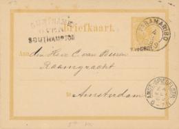 Suriname - 1889 - 7,5 Cent Opdruk Op Willem III, Briefkaart G5a Van Paramaribo - Over Southampton Naar Amst:-Spiegelstr - Suriname ... - 1975
