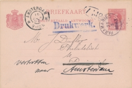 Suriname - 1893 - 2,5+2,5 Cent Willem III, Briefkaart G8 Lokaal Drukwerk Paramaribo, Door Naar Amsterdam - Surinam ... - 1975