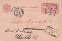 Suriname - 1907 - 2,5 Cent Cijfer, Briefkaart G11 + 2,5 Cent Van VK Paramaribo Naar KR ELST En Door Naar Utrecht - Suriname ... - 1975