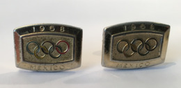 Rare JO MEXICO 1968 - Paire BOUTONS De MANCHETTE Metal DORE - 4 Scans - - Juwelen & Horloges