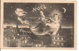 L100d126 - Noël - Enfant Dans Un Sabot Tiré Par Des Colombes Au Dessus De La Ville - Editions Bergeret - Christmas