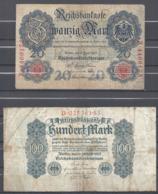 Lot De 2 Billets : 20 Mark 8=6=1907 Et 100 Mark 4=8=1922 - [ 3] 1918-1933 : République De Weimar