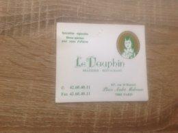 Carte De Visite De Brasserie Restaurant   Le Dauphin   Paris 1er - Cartes De Visite
