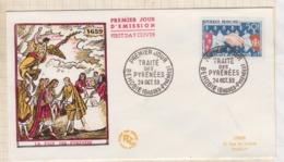9/512 Premier Jour FDC 1959 LA PAIX DES PYRENEES - FDC