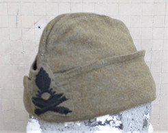 Bustina Vintage E.I. Invernale In Panno Kaki Anni '50 Artiglieria - Headpieces, Headdresses