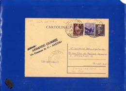 ##(DAN1910)-30-1-1946-Cartolina Postale Cent 50 In Tariffa L.3 Da Ancona Per  Vinchiaturo, Stampa Privata Retro-zucchero - Storia Postale