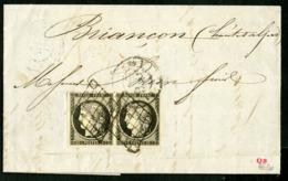 """1849 PAIRE DU N° 3a (Cote 330 €) Avec De Belles Marges Régulières. Obl. Grille + C-à-d (T15) """"LYON 14/05/49"""" - 1849-1850 Ceres"""