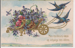 L100d132 - Mes Meilleurs Voeux En échange Des Vôtres - Charette De Fleurs  - Carte Gauffrée Et Dorée - New Year
