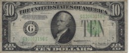 UNITED STATES 10 DOLLARS 1934 P-430Da USED S/N G13063156C [US430Da] - Federal Reserve Notes (1928-...)