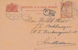Suriname - 1912 - 5 Cent Hulpuitgifte, Briefkaart G20 Van KB Paramaribo Naar Amsterdam / Nederland - Suriname ... - 1975