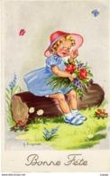 Illustrateur  J.LAGARDE  Fillette Avec Son Bouquet - Illustrators & Photographers