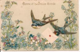 L100d137 - Bonne Et Heureuse Année - Oiseaux Portant Une Lettre Au Dessus De Myosotis - Carte Gauffrée N°365 - New Year