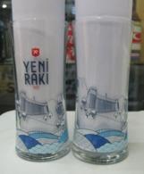 AC - YENI RAKI ANKARA ILLUSTRATED WITH AND WITHOUT LOGO PAIR GLASS - Other Bottles