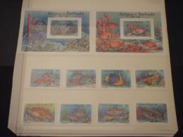ANTIGUA - 1990 PESCI 4 + 4  VALORI + 2 BF - NUOVI(++) - Antigua E Barbuda (1981-...)