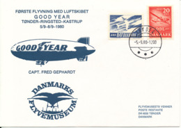 Denmark First Flight Airship Good Year Tönder-Ringsted-Kastrup 5-9 - 8-9-1980 With Cachet (fluor SAS Stamp) - Denmark