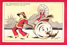 Illust-1372D02  SCHUSLER, Les Transports Aux Colonies, Tonkin, Le Pousse Pousse, Cpa - Illustrateurs & Photographes