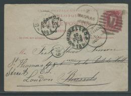 1888 Antwoordkaart 10C Gebruikt In Madras(India) Naar Brussel - Entiers Postaux