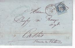 Cholet Pour Cassis    Yvert  29a  GC 1022   1868  LAC Cachet De Ligne - Marcofilie (Brieven)