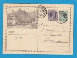 NO 95. ENTIER POSTAL AVEC AFFR. COMPLÉMENTAIRE, VUE DE VIANDEN ET CACHET DE ROSPORT POUR OETRANGE. - Stamped Stationery