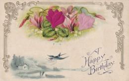 AQ70 Greetings - A Happy Birthday - Embossed, Swallow, Flowers - Birthday