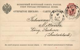RUSSLAND / LETTLAND / MITAWA (Jelgava)   - 1890 , Post Card Nach Mittweida / Sachsen - 1857-1916 Empire