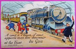 Carte à Système Gois Ile De Noirmoutier 10 Vues Train Gare Carte Postale 85 Vendée Rare - Ile De Noirmoutier