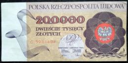 200 000 Zlotych 1989 POLAND POLEN POLOGNE Series Serie C - Polonia