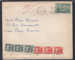 LETTRE DE WESTERN SPRINGS AVEC 2 VIGNETTES(CINDERELLAS),TAXÉE A 180.-FRANCS A PARIS,1952. - Portomarken