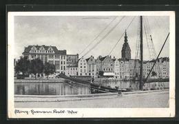 AK Elbing / Elblag, Blick Vom Flussufer Auf Den Ort, Segelschiff Olga - Westpreussen