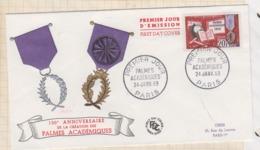 9/547 Premier Jour FDC 1959 LES PALMES ACADEMIQUES - 1950-1959