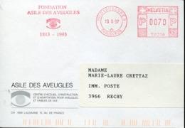 48584 Switzerland,  Red Meter Freistempel Ema, 1997 Lausanne Fondation Asile Des Auvegles,asylum Of The Blind - Affranchissements Mécaniques