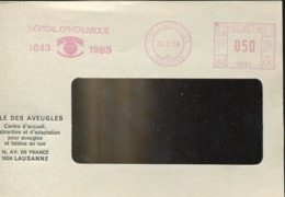 48583 Switzerland,  Red Meter Freistempel Ema, 1986 Lausanne Hopital Ophtalmique, Ophthalmic Hospital - Affranchissements Mécaniques