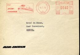 48595 Switzerland,  Red Meter Freistempel Ema, 1976 Geneve,  Air India - Postage Meters