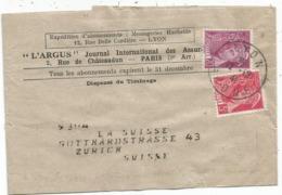 MERCURE 20C+5C BANDE COMPLETE LYON 12.12.1941 POUR SUISSE AU TARIF - 1938-42 Mercure