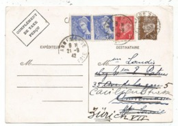 ENTIER PETAIN 80C CP TAXE PERCUE SEINE ET OISE 1942 POUR ANNEMASSE REEXPEDIE EN SUISSE MERCURE RARE TARIF 1942 - 1941-42 Pétain