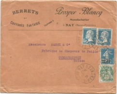 N°111 PERFORE PB + NON PERFORE N°181X2+217 LETTRE PROSPER BLANCQ NAY BASSES PYRENEES 1927 POUR SUISSE - France