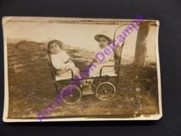 Carte Photo Famille Faure Enfants Poussette Double Face à Face 1930 - Généalogie