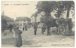 Cpa Allassac - Grand'Place ( Attelage Bois, Boeuf ) - Autres Communes