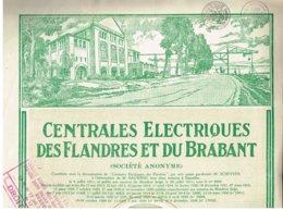 Titre Ancien - Centrales Electriques Des Flandres Et Du Brabant -Titre De 1928 - Electricidad & Gas