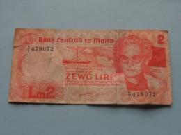 Lm 2 / ZEWG LIRI Bank Centrali Ta' MALTA ( A/I 478072 ) I-1967 ( For Grade, Please See Photo ) ! - Malta